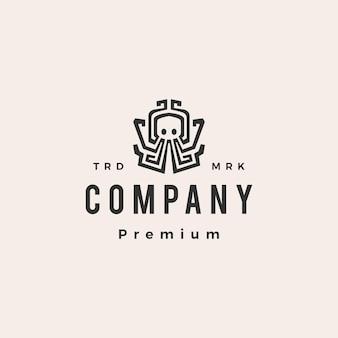 Plantilla de logotipo vintage pulpo hipster