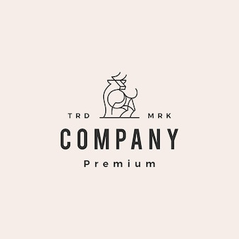 Plantilla de logotipo vintage de toro toro hipster