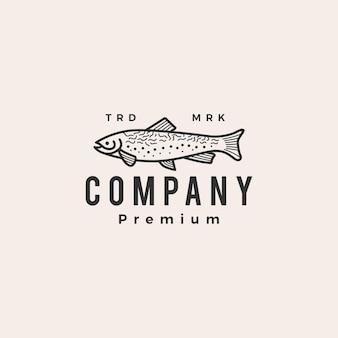 Plantilla de logotipo vintage de trucha pescado hipster