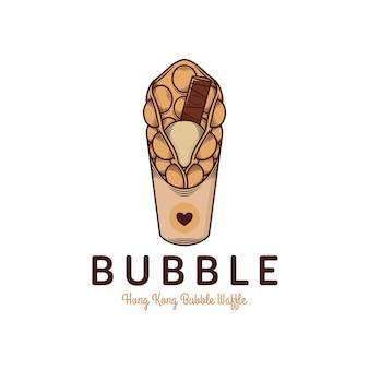 Plantilla de logotipo de waffle de burbuja de hong kong