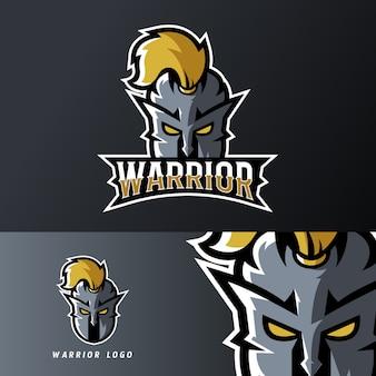 Plantilla de logotipo de warrior knight sport o esport gaming mascot