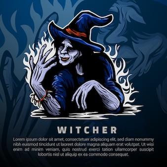Plantilla de logotipo de witcher y el poder en las manos
