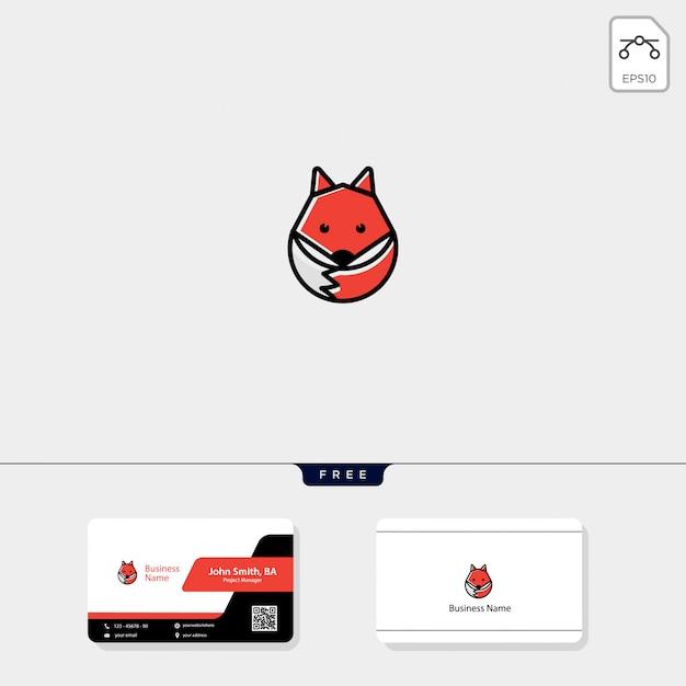 Plantilla de logotipo de zorro y tarjeta de visita gratis