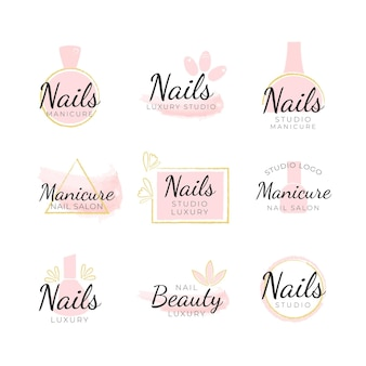 Plantilla de logotipos de nails art studio