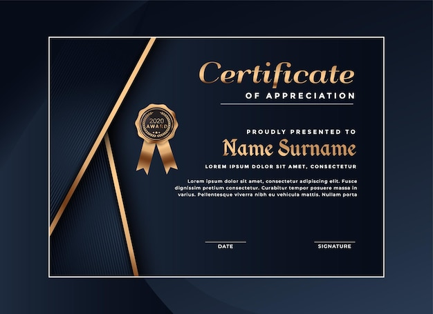 Plantilla de logro de certificado de lujo Vector Premium