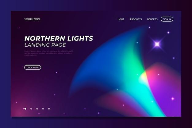Plantilla de luces del norte de la página de destino