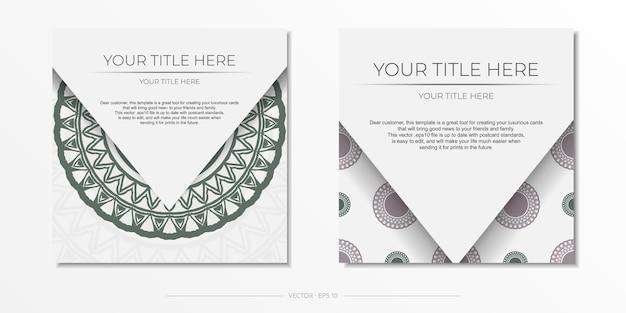Plantilla de lujo para imprimir postales de diseño en color blanco con patrones griegos oscuros. preparando una invitación con un lugar para tu texto y adornos vintage.