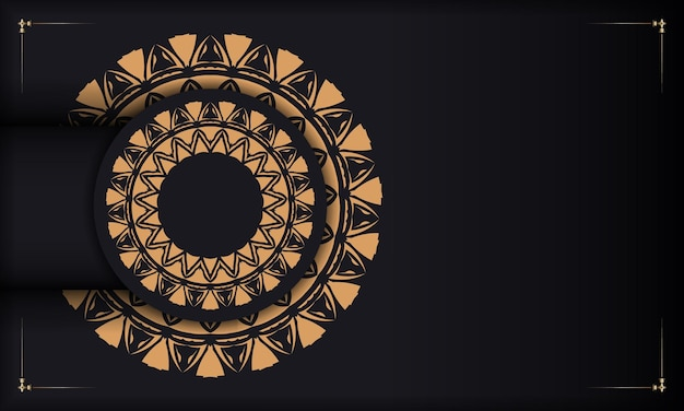 Plantilla de lujo para imprimir postales de diseño en color negro con patrones naranjas. preparación de vector de tarjeta de invitación con lugar para el texto y adornos vintage.