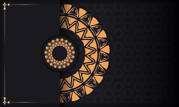 Plantilla de lujo para imprimir postales de diseño en negro con adornos naranjas. preparación de vector de tarjeta de invitación con lugar para el texto y patrones vintage.