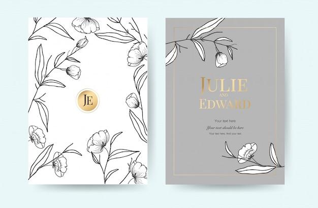 Plantilla de lujo de las tarjetas de la invitación de la boda con estilo floral del vintage.