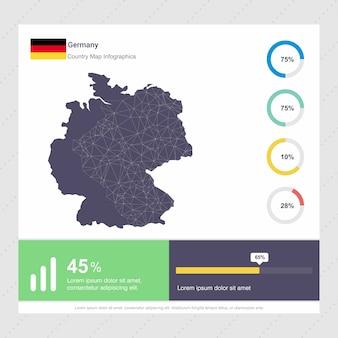 Plantilla de mapa de alemania y bandera infografía