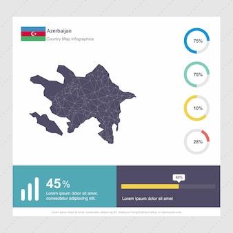 Plantilla de mapa de azerbaiyán y bandera infografía