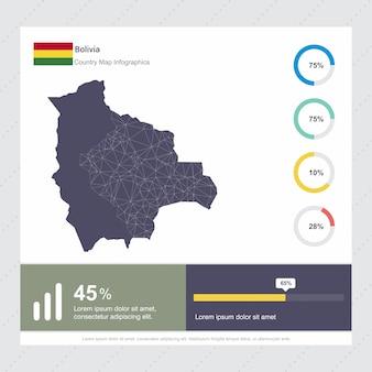 Plantilla de mapa de bolivia y bandera infografía
