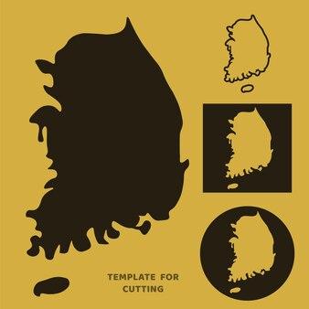 Plantilla de mapa de corea del sur para corte por láser, talla de madera, corte de papel. siluetas para cortar. plantilla de vector de mapa de corea del sur.