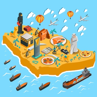 Plantilla de mapa isométrico de arabia saudita