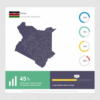 Plantilla de mapa de kenia y bandera infografía