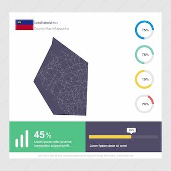 Plantilla de mapa de liechtenstein y bandera infografía