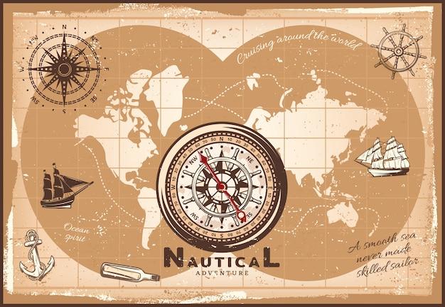 Plantilla de mapa del mundo náutico vintage