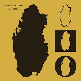 Plantilla de mapa de qatar para corte por láser, tallado en madera, corte de papel. siluetas para cortar. plantilla de vector de mapa de qatar.