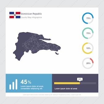 Plantilla de mapa de república dominicana y bandera infografía