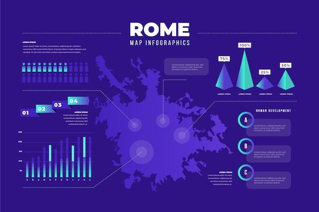 Plantilla de mapa de roma degradado