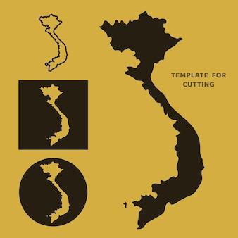 Plantilla de mapa de vietnam para corte por láser, tallado en madera, corte de papel. siluetas para cortar. plantilla de vector de mapa de vietnam.