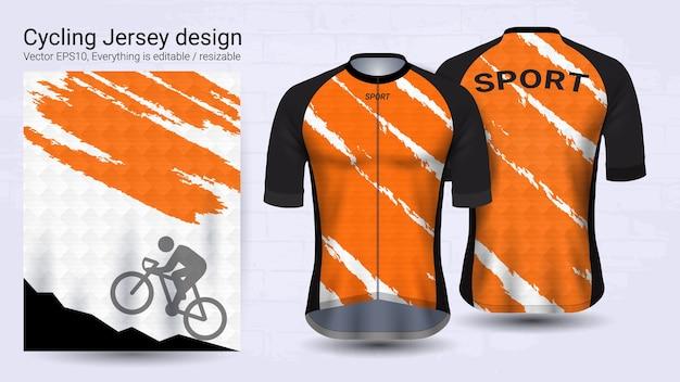 Plantilla de maqueta deportiva de manga corta naranja y blanca
