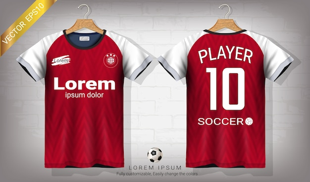 Plantilla de maqueta de fútbol jersey y camiseta deportiva