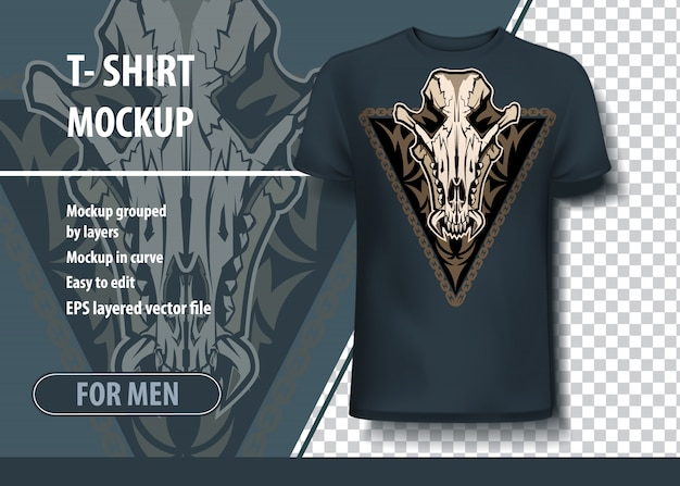 Plantilla de maqueta para imprimir, cráneo de chacal. vector de diseño como una oferta de impresión en camisetas.