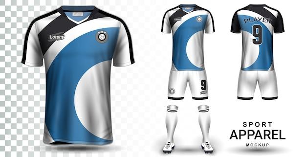 Plantilla de maqueta de presentación de jersey de fútbol y fútbol