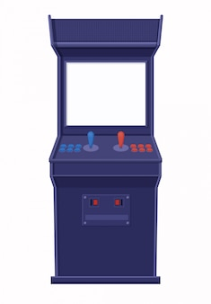 Plantilla de máquina de juego arcade. consola azul retro con plantilla de pantalla en blanco.