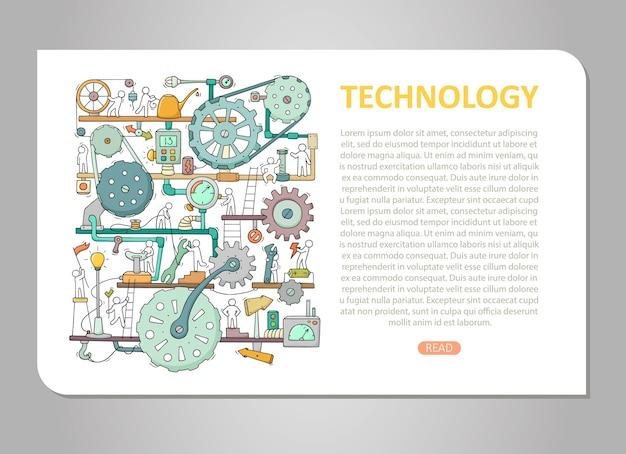 Plantilla de maquinaria con espacio para texto. doodle mecanismo de dibujos animados con personas y ruedas dentadas.