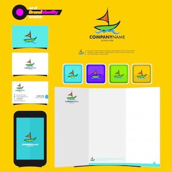 Plantilla de marca comercial con logotipo de barco, tarjeta de visita, folleto y teléfono inteligente