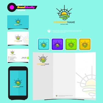 Plantilla de marca comercial con logotipo de sunrise, tarjeta de presentación, folleto y teléfono inteligente