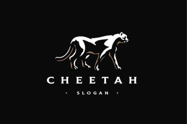 Plantilla de marca de logotipo a pie de vista lateral de guepardo de lujo