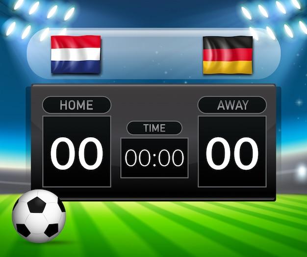 Plantilla de marcador de fútbol holanda vs alemania