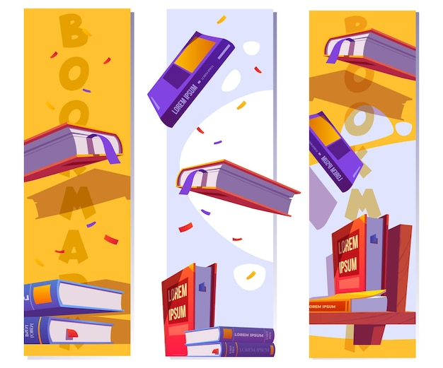 Plantilla de marcadores para leer literatura en la escuela o biblioteca vector banners verticales con dibujos animados ...