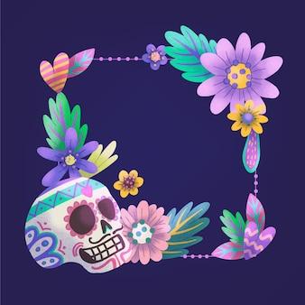 Plantilla de marco de acuarela dia de muertos