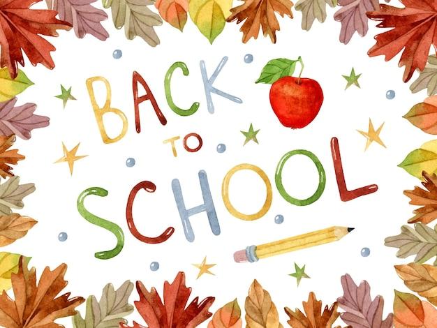 Plantilla de marco de acuarela de regreso a la escuela con letras dibujadas a mano