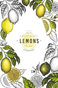 Plantilla de marco de árbol de limón. dibujado a mano ilustración de frutas.