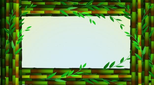Plantilla de marco con árboles de bambú verde