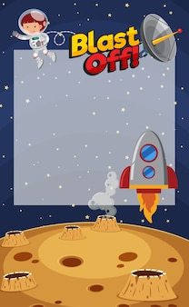 Plantilla de marco con astronauta y nave espacial en el espacio