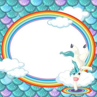 Plantilla de marco de banner ovalado en escamas de pescado verde con personaje de dibujos animados de unicornio