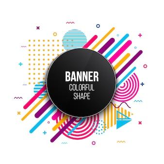 Plantilla de marco de banner plano geométrico de moda.