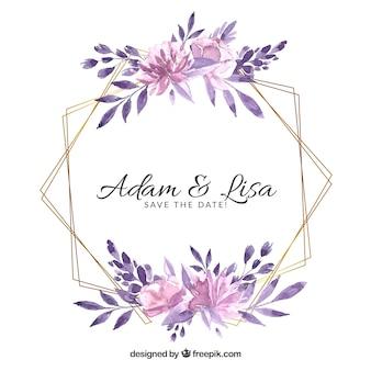 Plantilla de marco de boda floral
