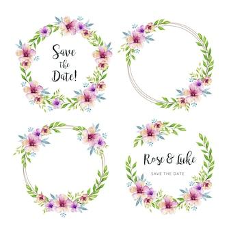 Plantilla de marco de boda de flores y hojas