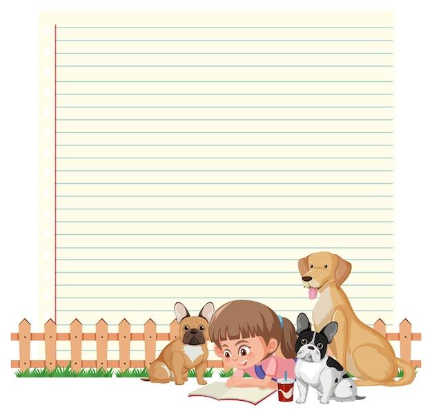 Plantilla de marco de borde con niña y perro