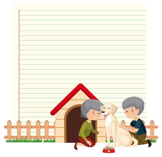 Plantilla de marco de borde con pareja de ancianos y su fondo de perro