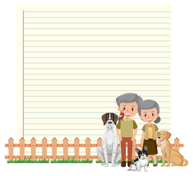 Plantilla de marco de borde con pareja de ancianos y su perro