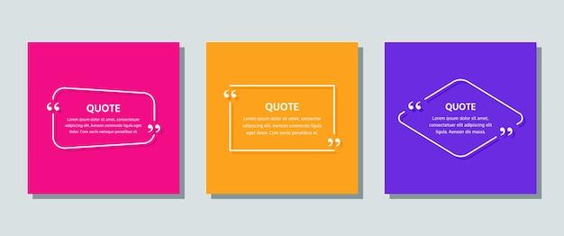 Plantilla de marco de cotización. cuadro de texto de citas. comentarios de información en cuadros de texto sobre fondo de color.